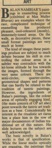 Review of Bal Nambiar's paintings at Max Muller Bhavan